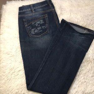 Silver Jeans Aiko boot cut. Tall dark wash denim
